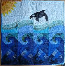 72 best Quilts | Dolphins, whales, oceans and seascapes images on ... & Killer whale quilt, nine patch and waves. Adamdwight.com