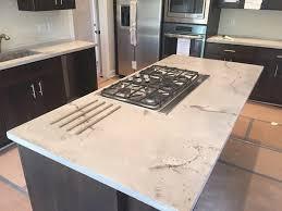 white travertine concrete counter top