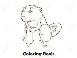 森林動物ビーバー漫画ベクトル イラスト子供のための塗り絵