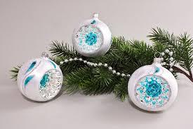 3 Reflexkugeln 8cm Eisweiß Türkis Kleine Feder Original Weihnachtsbaumkugeln Aus Lauscha