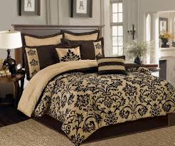 Brown Cream California King Bedding Sets Damask Comforter Dark ... & Brown Cream California King Bedding Sets Damask Comforter Dark Cotton  Pillowcases Piped Rectangle Black Flower Pattern Square Cover Chocolate  Skirt Wooden Adamdwight.com