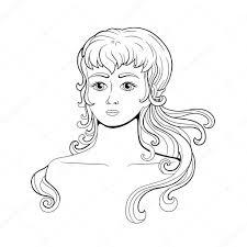 黒と白の女の子イラストぬりえ ストックベクター Homari 129344856