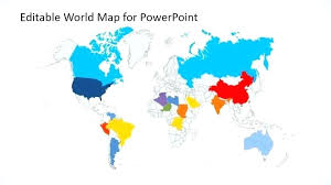 World Map In Blue Template Design Powerpoint Templates