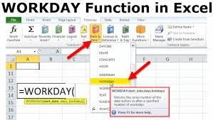 Workday In Excel Formula Example How To Use Workday