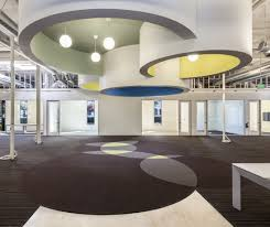 overhead office lighting. Awesome Open Office Lighting Design With Pendant And False Ceiling Decoration Over Brown Carpet Round Pattern Ideas Cool Lamps Natural Light Table Dining Overhead T