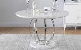 savoy round white marble and chrome dining table with 4 perth white chairs only 499 99 furniture choice