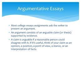 argumentative essays  most college essays assignments ask the  most college essays assignments ask the writer to present an argument