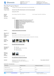 Project Progress Report Sample Monthly Construction Progress Report Template Use This