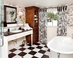 Toile Bathroom Decor Red Bathroom With Toile Wallpaper Country ...