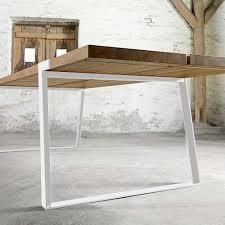 Esstisch Eiche Tischplatte Weiße Tischbeine Tisch Massiv