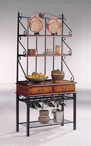Kitchen Rack Coaster Brown Sandy Black Finish Metal Wood Bakers Kitchen Rack