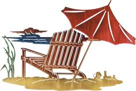 beach chair and umbrella on beach metal wall art hanging called sandcastle by neil rose 16 h x 24 w in colorwash only on beach umbrella metal wall art with beach chair and umbrella on beach wall art hanging called sandcastle