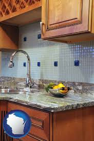 a granite countertop with wisconsin icon