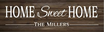 home sweet home custom name rustic wood sign or canvas wall hanging housewarming realtor gift wedding anniversary gift