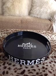 h e r m e s black round tray coffee