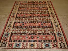 old turkish sarkoy kilim rug traditional banded design very soft pink colours circa 1920