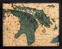 Lake Pleasant Az Depth Chart Lake Huron Wood Carved Topographic Depth Chart Map