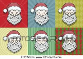 vintage santa claus face clipart. Wonderful Clipart Set Of Smiling Santa Claus Face With Round Glasses And Pattern Background  Happy New Year Print Design Vintage Christmas Postcard For Face Clipart T