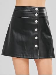 snap on faux leather flare skirt black xs