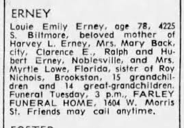 Louie Emily Erney Obituary 22 Mar 1966 The Indianapolis Star Indianapolis,  Indiana - Newspapers.com