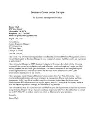 Business Cover Letter Sample For Business Management Position