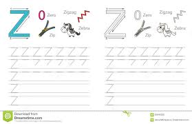 Handwriting Page Tracing Worksheet For Letter Z Stock Vector Illustration Of Recipe