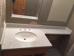 swiss blanco engineered marble vanity countertop with shower wall in indian head park il
