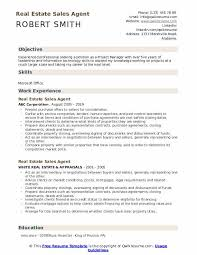 Career Objective For Real Estate Resume Real Estate Sales Agent Resume Samples Qwikresume
