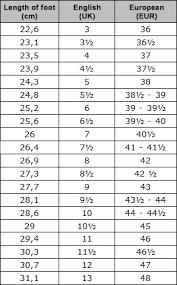 Size Chart Mephisto Shop