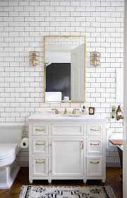 bathroom subway tile. White Subway Tiles Look Cool With Gold Accents Bathroom Tile