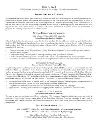 Samples Resume Special Education Teacher Free Resumes Tips
