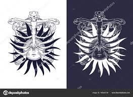 Tvář Slunce Měsíc Hvězdy Zednářský Tetování Návrh Trička Alchymie