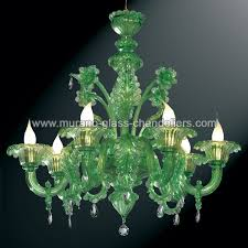 giada green murano glass chandelier 6 lights
