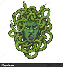 голова медузы с змей греческий миф существо цвет эскиз гравировки