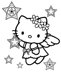 Small Picture Hello Kitty Snow Angel Christmas Coloring Page Cartoon Coloring