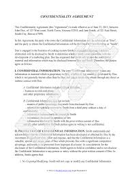 Business Confidentiality Agreement Sample Confidentiality Agreement Template Free Sample Confidentiality 1