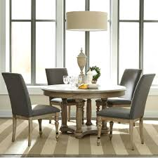 riverside dining room furniture 5 piece round table and upholstered chair set by