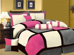 7 PC MODERN Black Hot Pink White Gray Suede COMFORTER SET...  ... & New Pink Black White Gray Bedding Suede Comforter set-Twin Full Queen King  Curts Adamdwight.com