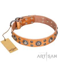 extra sparkle fdt artisan handcrafted german shepherd tan leather dog collar