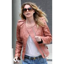 ellen pompeo tan leather jacket for womens