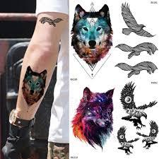 горячая галактика волк мужчины временные татуировки наклейки женщины рука