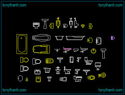 hygienic sanitary equipments in bathroom cad block dwg autocad drawing