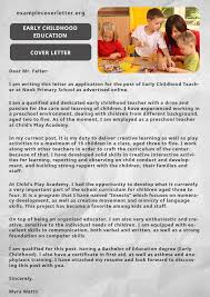 How To Write A Cover Letter For Early Childhood Education Early Childhood Education Cover Letter Early Childhood
