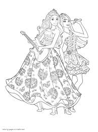 Small Picture Barbie Coloring Pages The Princess Popstar With And Coloring