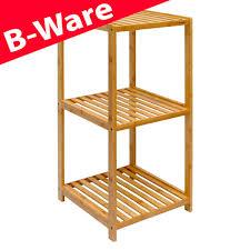 B Ware Badregal 83x38x40cm Bambus Holz Regal 3 Fächer Bad