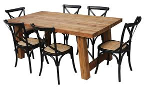 cross back dining chairs. Kingwood 1.9m Dining Table With 6 Crossback Chairs (Black) Cross Back