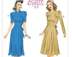 1940s Dress Patterns Simple 48s Dress Patterns Etsy