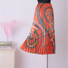 <b>free shipping Fashion</b> Pleated Skirt New Trend Printed <b>Women</b> Maxi ...