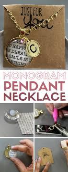 monogram pendant necklace beautiful diy jewelry gold handmade gift round