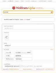 wolfram alpha results for subset